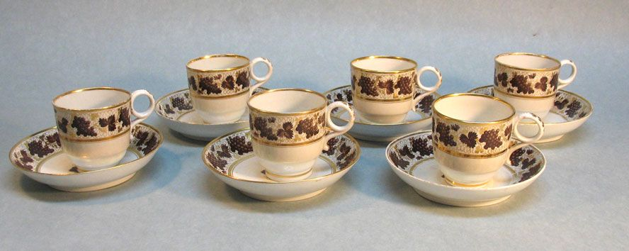 Six Barr Period Worcester Porcelain Small Cups and Saucers circa. 1800
