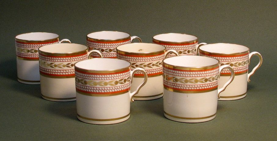 Set of 8 Spode Coffee Cans circa 1815