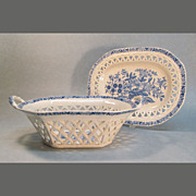 Staffordshire Blue and White Basket on Stand circa 1835
