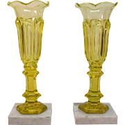 Pair Canary Flint Vases on Marble Bases ca. 1850