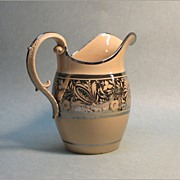 Large English Silver Luster Resist Pitcher