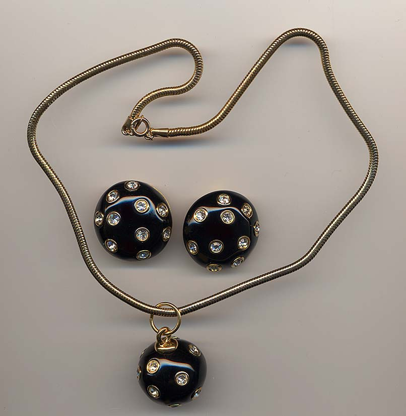Black Enamel And Rhinestone Napier Pendent And Earrings