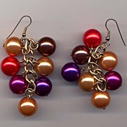 "3"" Satin Sheen Colored Ball Drop Earrings"