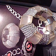 REDUCED Kenneth Jay Lane Frosted Plastic and Rhinestone Bracelet Book Item