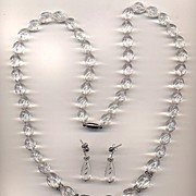 Gorgeous Carved Lucite and Rhinestone Necklace and Earrings
