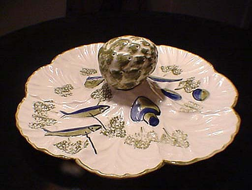 1962 Los Angeles Pottery Snack Dish & Toothpick Holder