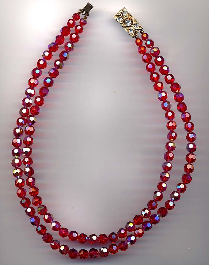 Gorgeous Red Aurora Crystal Double Strand Necklace