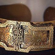 REDUCED Extremely Rare Ornate Brass Dress Clip Bracelet