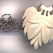 Large Carved Bone Leaf Pendant Necklace