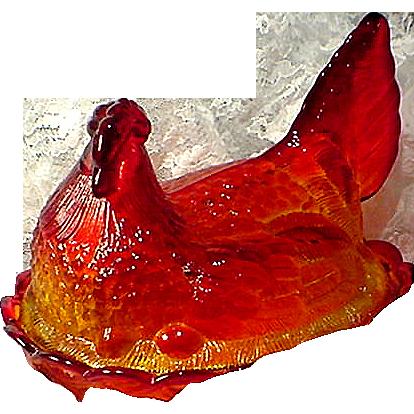 Beautiful Amberina Glass Chicken on a Nest