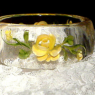 REDUCED Clear Lucite Yellow Rose Reverse Carved Bangle Bracelet