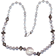 Carved Crystal and Silver Plate Ball Necklace