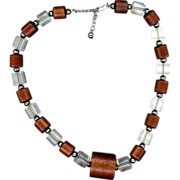 Signed Napier Lucite and Wood Necklace