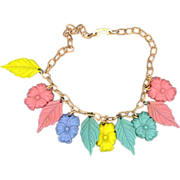 """15"""" Colored Celluloid Flower and Leaf Necklace"""