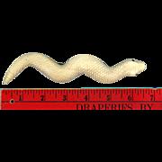 Huge Victorian Hand Carved Bone Snake Pin