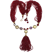 Ruby Glass Bead Drop Necklace