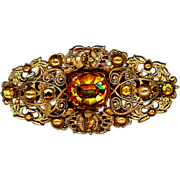 Old Glass Topaz or Citrine Signed Czechoslovakia Trumpet Clasp Pin