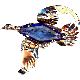 Sterling Flying Blue Rhinestone Bird Pin With Gold Wash