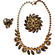 Autumn Whiskey Toned AB Rhinestone Necklace and Pin With ONE Earring