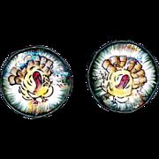 Handpainted Made In Japan Turkey Ceramic Earrings