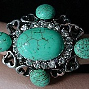 Large F aux Turquoise and Silver Cocktail Ring, 1970's.