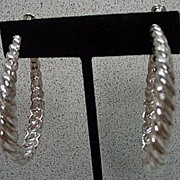 Classic Goldette Silver Braid Hoop Earrings, 1960's.