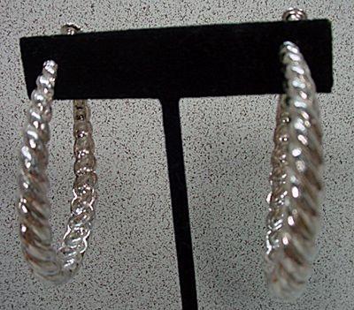 Classic Goldette Silver Braid Hoop Earrings, 1960's.
