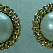 Edouard Ramboug  F aux Pearl and Gold Tone Earrings, 1970's.