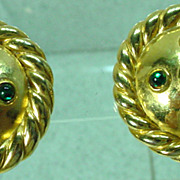 1980's Moritz Gold Tone Clip On Earrings, Elegant!