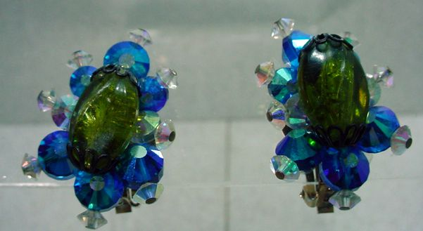 Charming Hobe Crystal Clip On Earrings, 1960's.