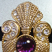 Fantastic Jeff Lieb Brooch with Large Pearl Drop, 1980's!