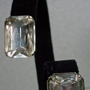 1980's YSL Rhinestone Solitaire, Clip On Earrings…