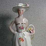 Wonderful KPM Porcelain Figurine, Lady Holding Basket, 1950's