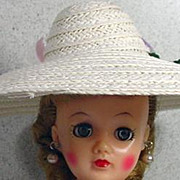"Vintage Summer Picture Hat for 10 1/2"" Fashion Doll, 1950's"