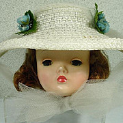 Vintage Madame Alexander Cissy White Straw Hat with Tulle Trim and Flowers, 1950's