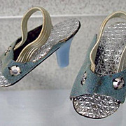 """American Character 14"""" Sweet Sue Sophisticate Blue High Heel Shoes, 1957"""