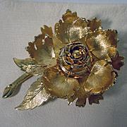 Vintage Goldtone Warner Flower Brooch, 1960's