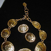 Elizabeth Taylor Hammered Goldtone Necklace and Earrings Set, 1990's, Avon