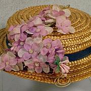 Vintage Straw Doll Hat with Flower Trim, 1950's