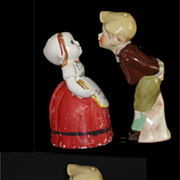 Old Dutch Girl and Boy Don't Kiss Me I Am Busy Salt & Pepper Shakers.