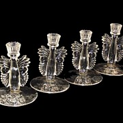 Paden City Crystal Candlesticks with Sterling Silver Overlay 1930's Maya Butterfly #555 or #221 Set