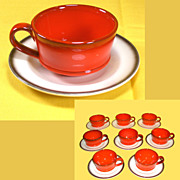 Vintage Metlox Red Rooster Poppytrail Vernon Cups & Saucers  16 pcs.  8 of each