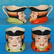 Old Vintage Toby Style Sauce Boats Planters England  Hand Painted Large