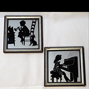 Framed Enamel to Glass Silhouettes Music Lessons Set