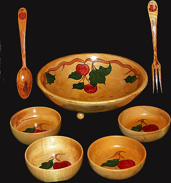 Vintage Hand Painted Wooden Salad Bowl Set  Apple Design 1950's