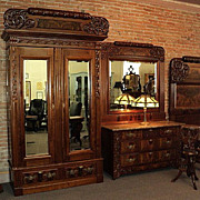 Four Piece Victorian Marble Top Bedroom Sale, ON SALE!