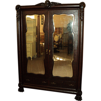 SALE Antique Mahogany Wardrobe w. Winged Cherub and Paw Feet, ON SALE!