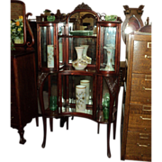 Birch Etagere, Whatnot Shelf, Curved Glass Cabinet, China Cabinet, Price Reduced!