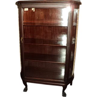 SALE Antique Mahogany Curved Glass Curio/China Cabinet, circa 1900,