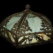 Slag/Art Glass Lamp w. Scenic Shade